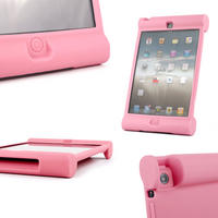 View Item Pink Rubber Shock Resistant Easy Hold Children's Case Custom Fits iPad Mini