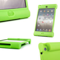 View Item Green Rubber Shock Resistant Easy Hold Children's Case Custom Fits iPad Mini