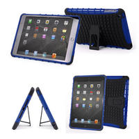 View Item Tough Apple iPad Mini Shock Resistant Cover In Blue & Black With Built-In Stand