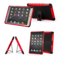 View Item Red & Black Shock Resistant Cover With Built In Stand Custom Fits iPad Mini