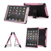 View Item Tough Apple iPad Mini Shock Resistant Cover In Pink & Black With Built-In Stand