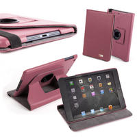 View Item Leather Folio Cover (PU) - Pink - Custom Fit For Apple iPad Mini
