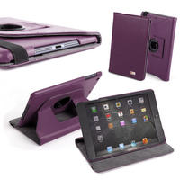 View Item Custom Case For Apple iPad Mini - Purple Rotating Folio Design With Stand