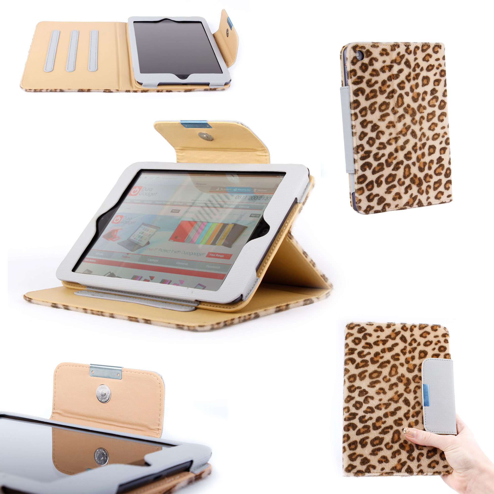 Apple iPad Mini Custom Fluffy Leopard Print Case w/ Safe Lock &amp; Adjustable Stand Preview