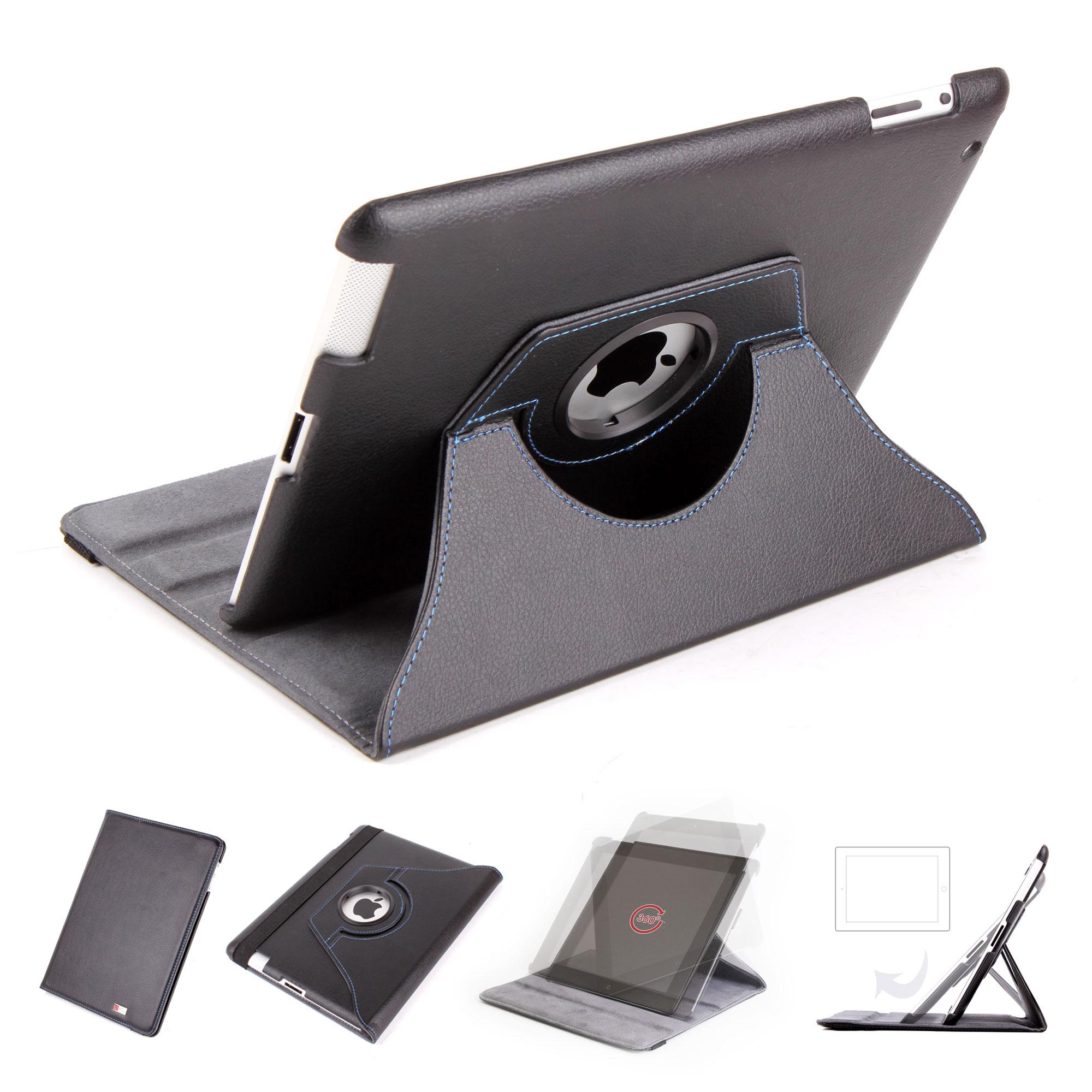 duragadget housse etui rotatif en noir pour apple ipad 2. Black Bedroom Furniture Sets. Home Design Ideas