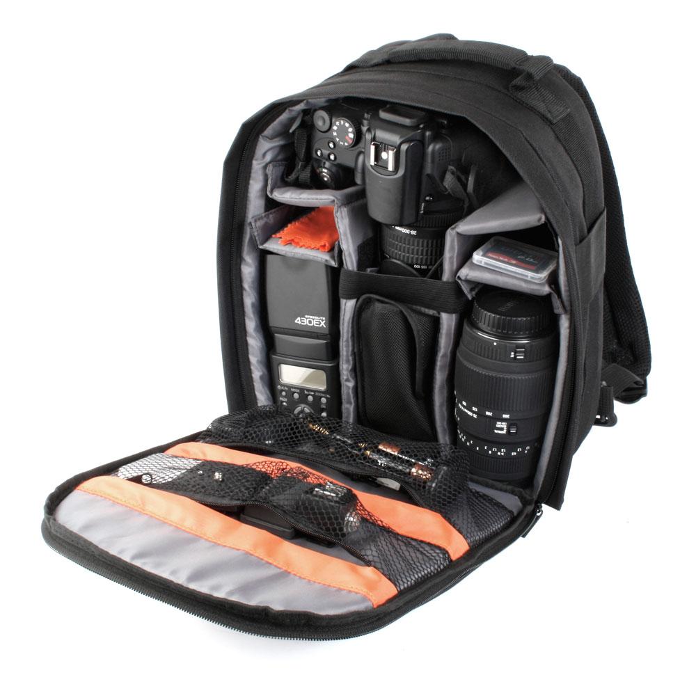 sac dos noir pour appareil photo reflex pentax k 30 nikon d800 nikon d7000 ebay. Black Bedroom Furniture Sets. Home Design Ideas