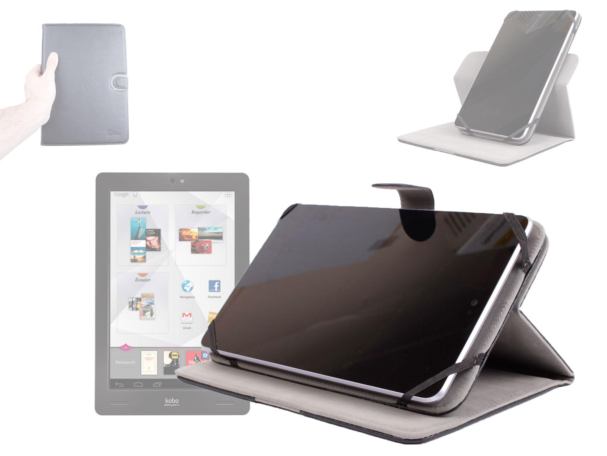Housse rotative 360 en effet cuir pour tablette fnac kobo for Housse kobo arc 7