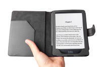 "View Item Custom Made 5"" Kobo Mini eReader Case In Classic Black Leather w/ Magnetic Close"