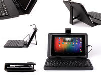"View Item Amazing Quality Black PU Leather 7-8"" Tablet Case + Attachable Built-In Keyboard"