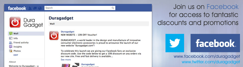 Join and like Duragadget on Facebook or follow us on Twitter for access to some fantastic discounts!