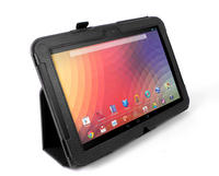 View Item Black PU Leather Folio Case With Built In Stand For Google Nexus 10 Tablet PC