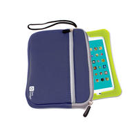 View Item 8 Inch Tablet Holder In Cool Blue Neoprene With Safe Zip Closure & Front Pocket