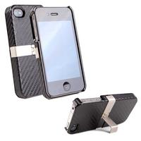 View Item Carbon Effect Hard Shell Case With Landscape Stand For Apple iPhone 4S &amp; 4