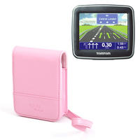 View Item Pink PU Leather Case For Tomtom start, 2, Via Live 120 & Black w/ Carry Strap