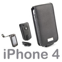 View Item Genuine Leather Case Pouch For Apple iPhone 4 &amp; 4S Includes Screen Protector