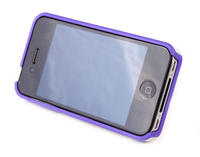 View Item Purple &amp; White Apple iPhone 4 &amp; 4S Case With Moveable Mini Arm Stand