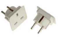 View Item Power / Plug Socket Adapter From UK Pin Plug to European 2 Pin Standard Plug