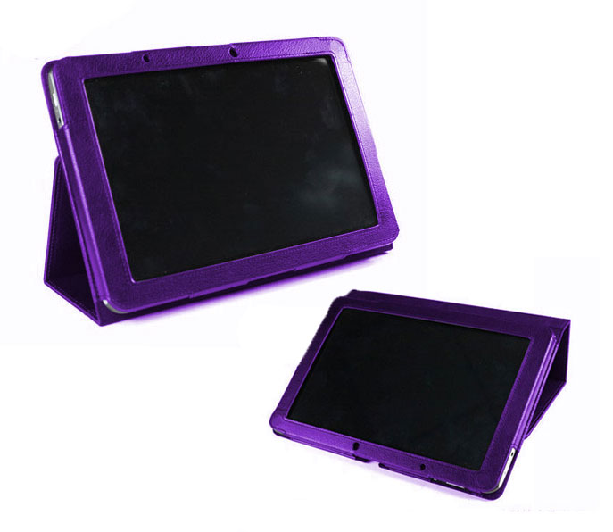 PU Leather Purple Protective Case w/ Built In Stand Custom Fits Google Nexus 7 Preview