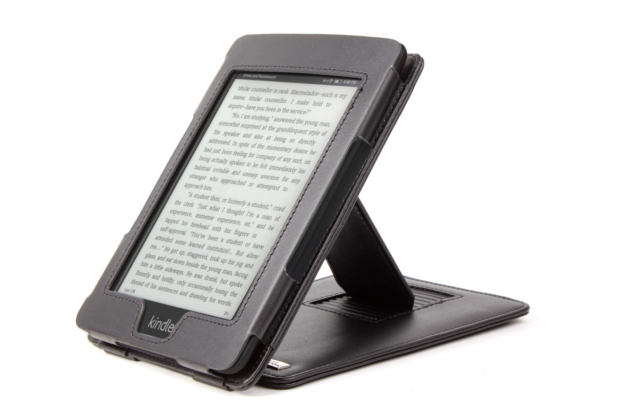 Custom Designed Amazon Kindle Paperwhite Case With Built In Stand In Sleek Black Preview