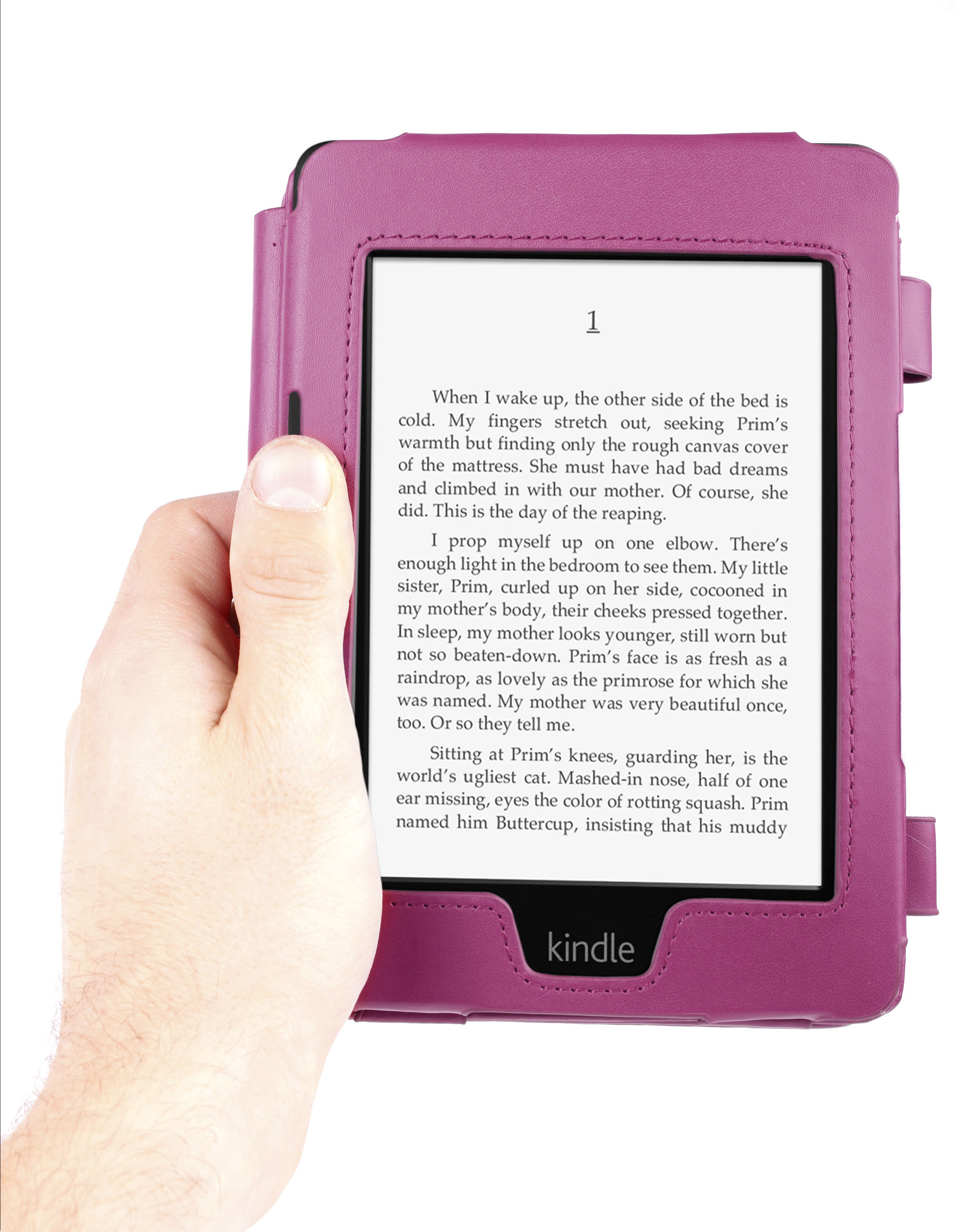 Custom Fit Amazon Kindle Paperwhite Case In Purple Leather With Book Open Style Preview