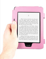 View Item Book Style Custom Fit Amazon Kindle Paperwhite Case In Fashionable Pink Leather