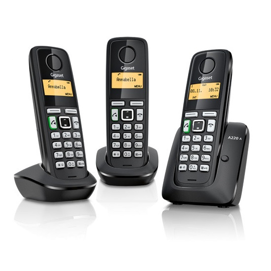 siemens gigaset a220a trio digital cordless phone answer. Black Bedroom Furniture Sets. Home Design Ideas