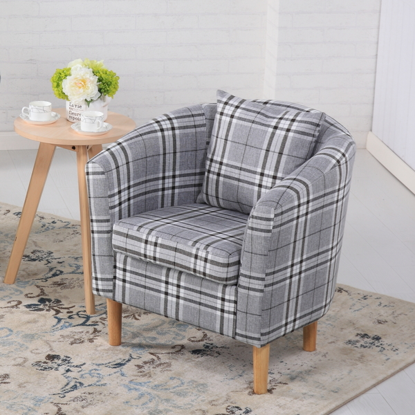 Deluxe Tartan Fabric Tub Chair Armchair Dining Living Room Office Hotel Grey