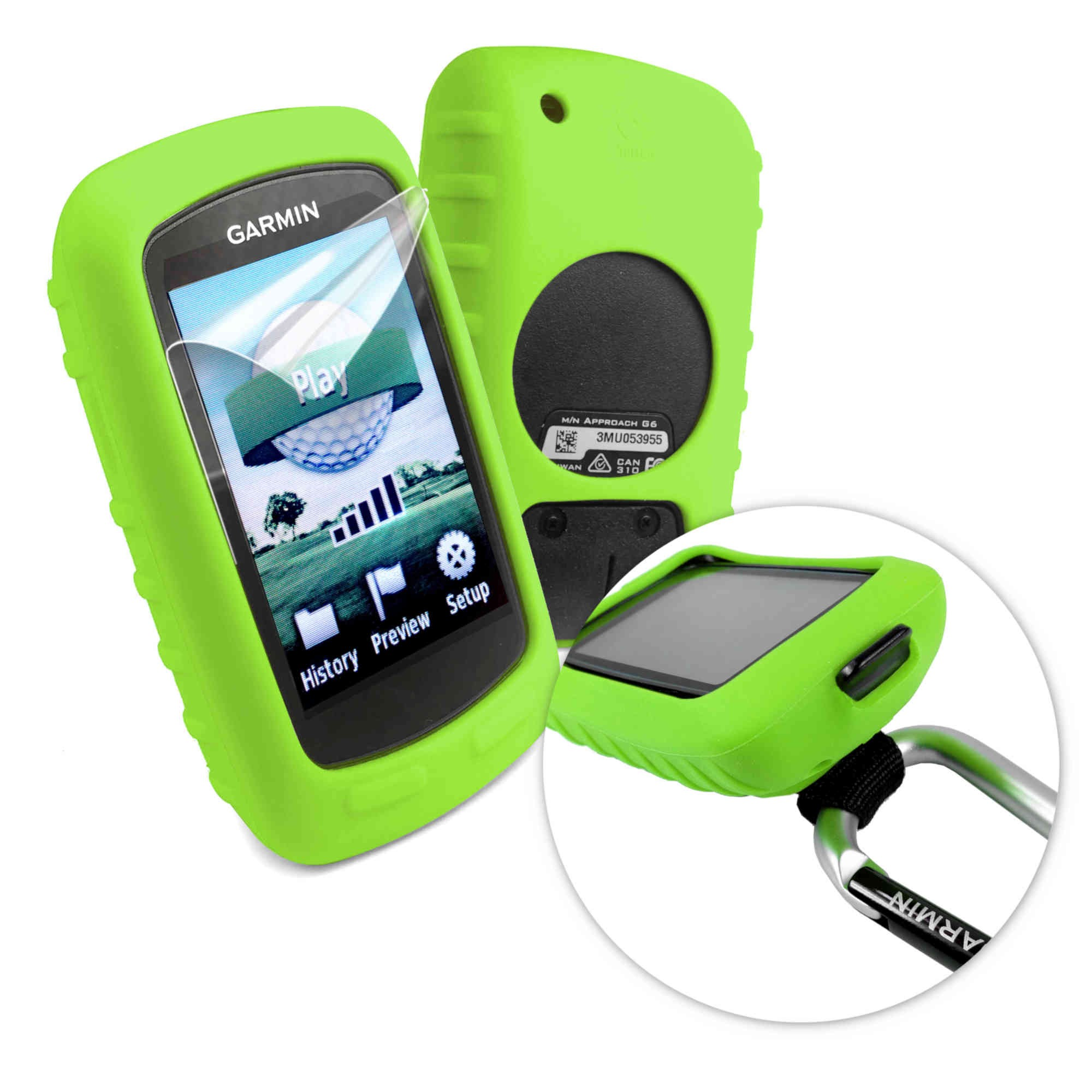tuff luv silicone gel skin case screen cover for garmin approach g6 g7 green ebay. Black Bedroom Furniture Sets. Home Design Ideas