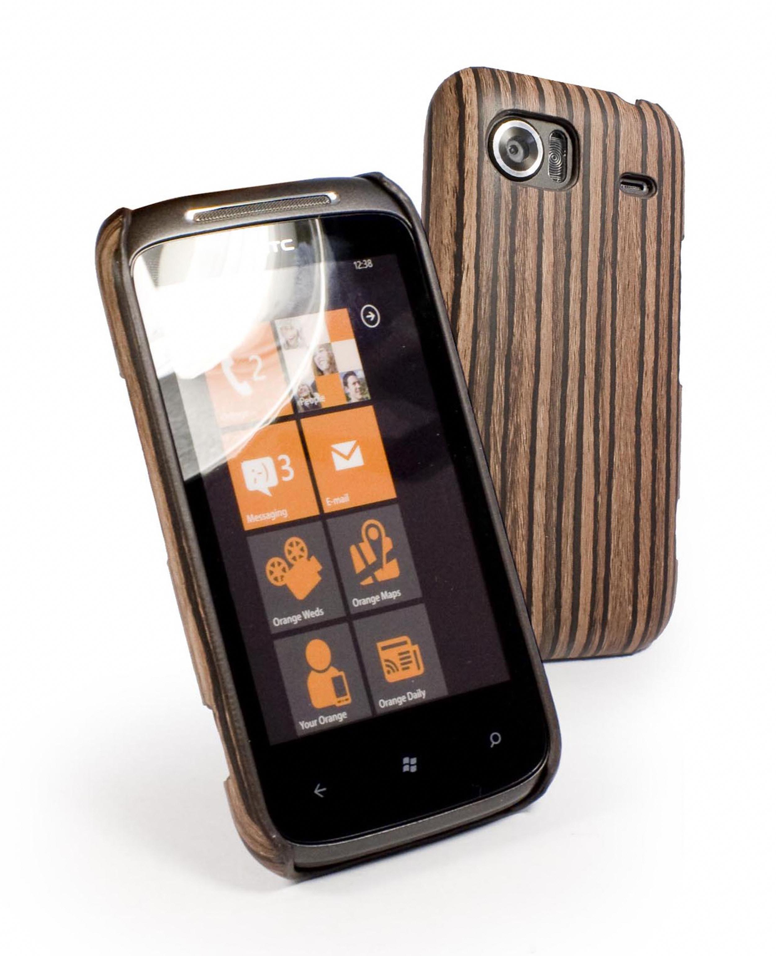 Tuff-Luv Wood case cover for HTC Mozart - Light Brown Enlarged Preview