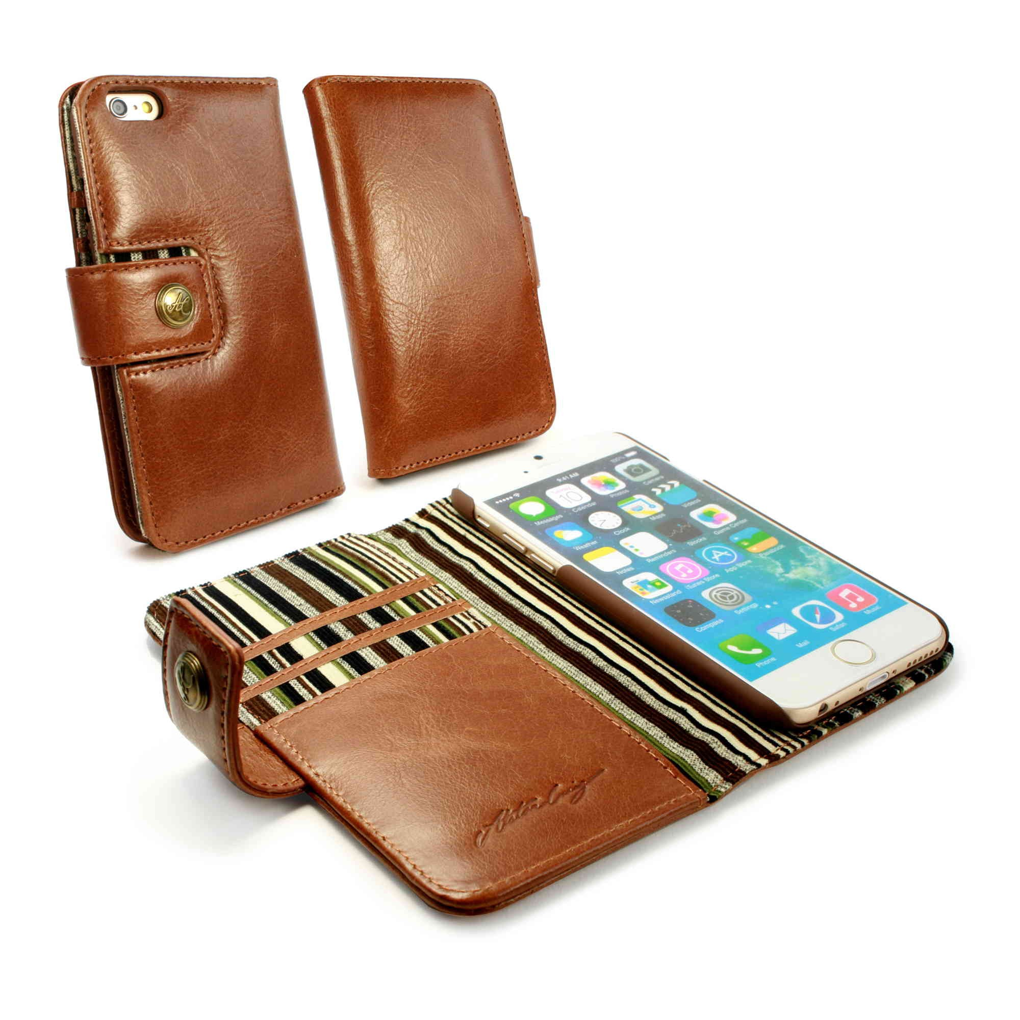 Tuff luv iphone 6s 6 vintage leather wallet case with rfid brown
