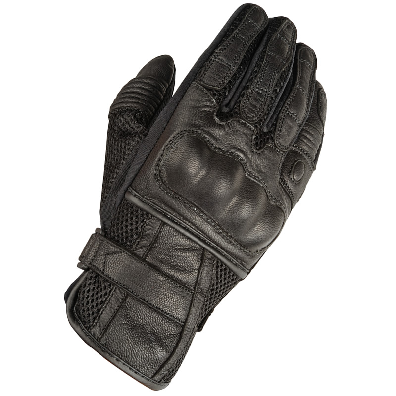 nice motorcycle gloves leather #2: AKITO-SUMMER-BREEZE-BLACK-LEATHER-BREATHABLE-MOTORCYCLE-CRUISER-