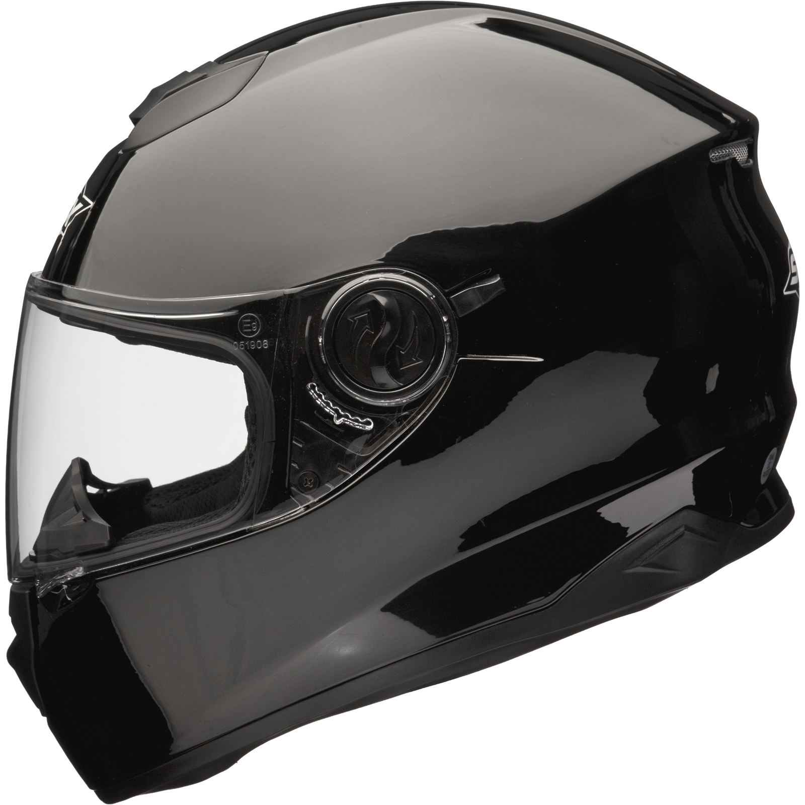 Shox Assault Solid Black Motorcycle Helmet Motorbike Full ...
