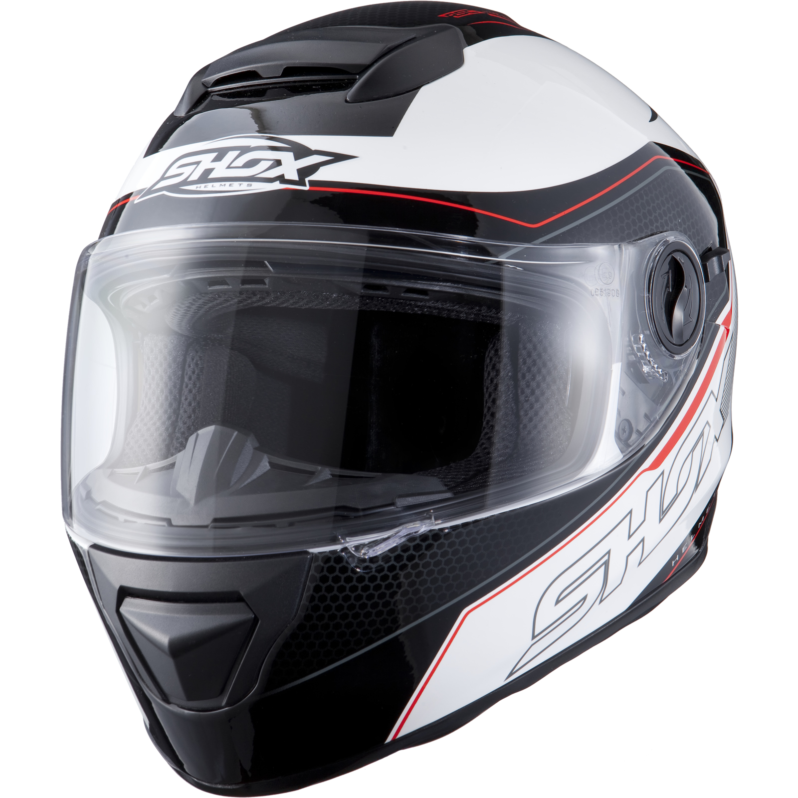 Shox Assault Tracer Black White Red Motorcycle Helmet ...