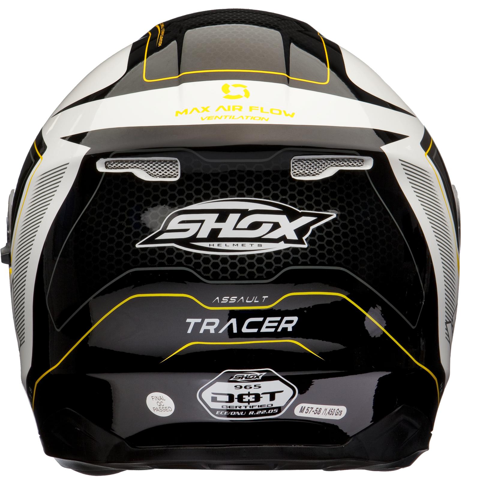 shox assault tracer mit sonnenblende motorrad helm schwarz wei gelb 59 60 cm l ebay. Black Bedroom Furniture Sets. Home Design Ideas