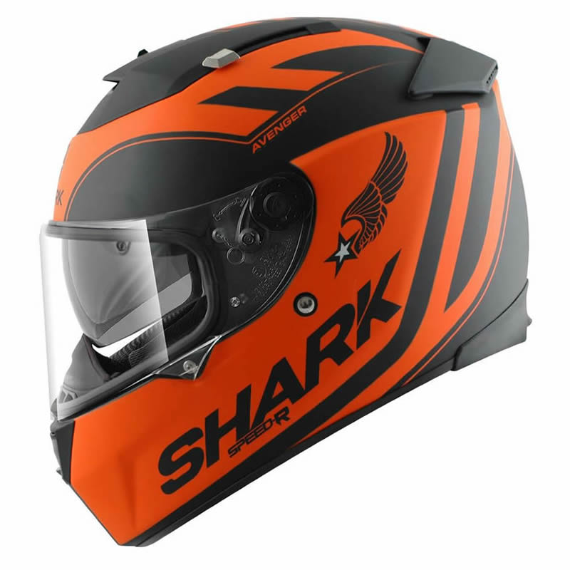 shark speed r avenger full face acu gold racing touring bike crash helmet orange ebay. Black Bedroom Furniture Sets. Home Design Ideas