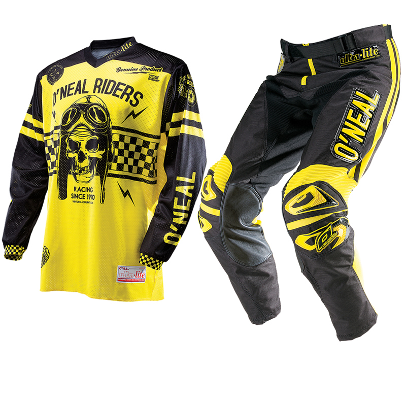oneal 2014 ultra lite le 70 noir jaune maillot et pantalon vtt kit de motocross ebay. Black Bedroom Furniture Sets. Home Design Ideas