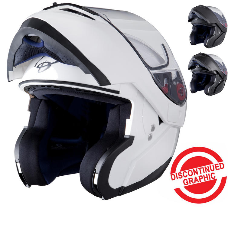 Black Optimus Flip Front Motorcycle Helmet (Pinlock Ready)