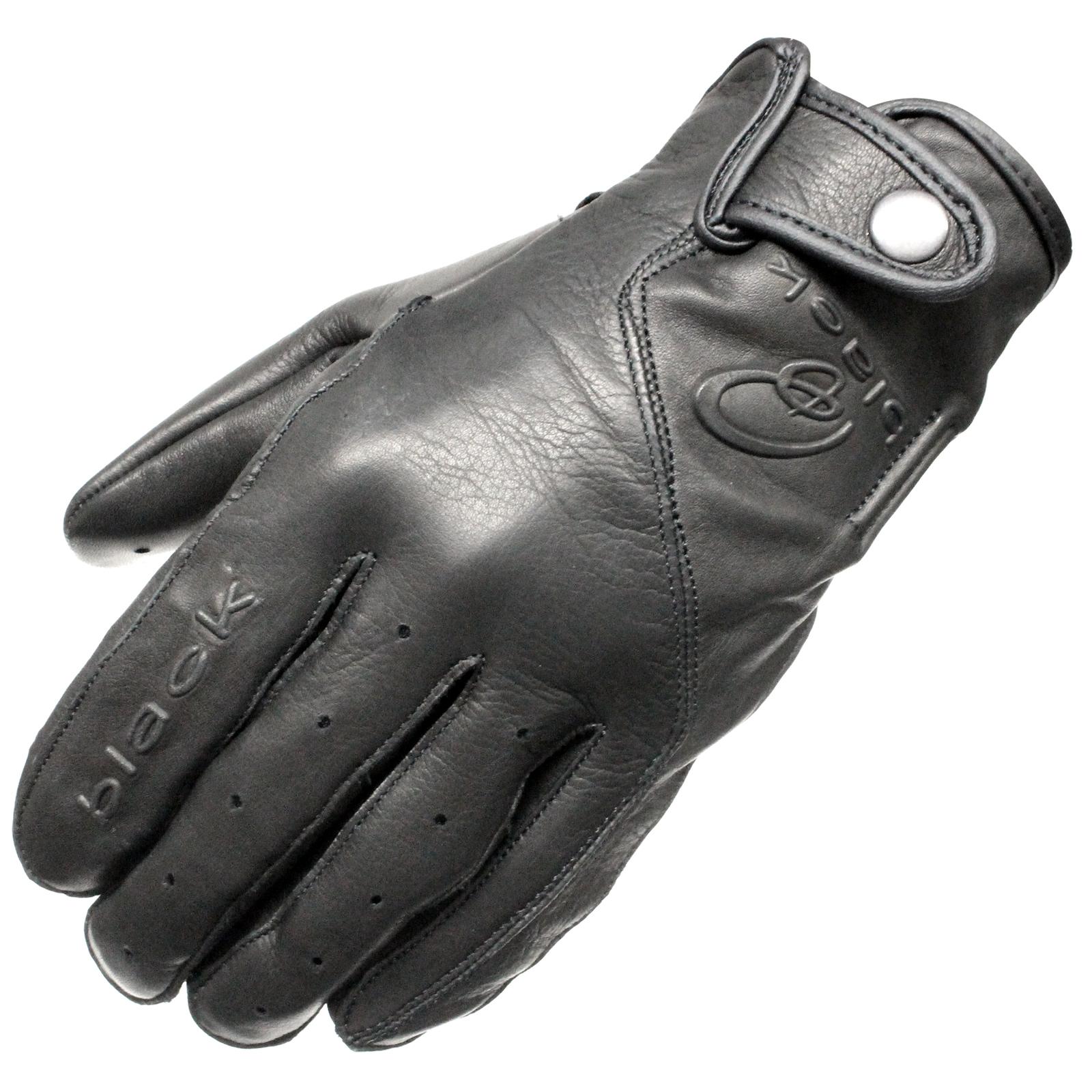 Buy leather bike gloves - Black Static Leather Classic Vintage Fashion Motorcycle Bike