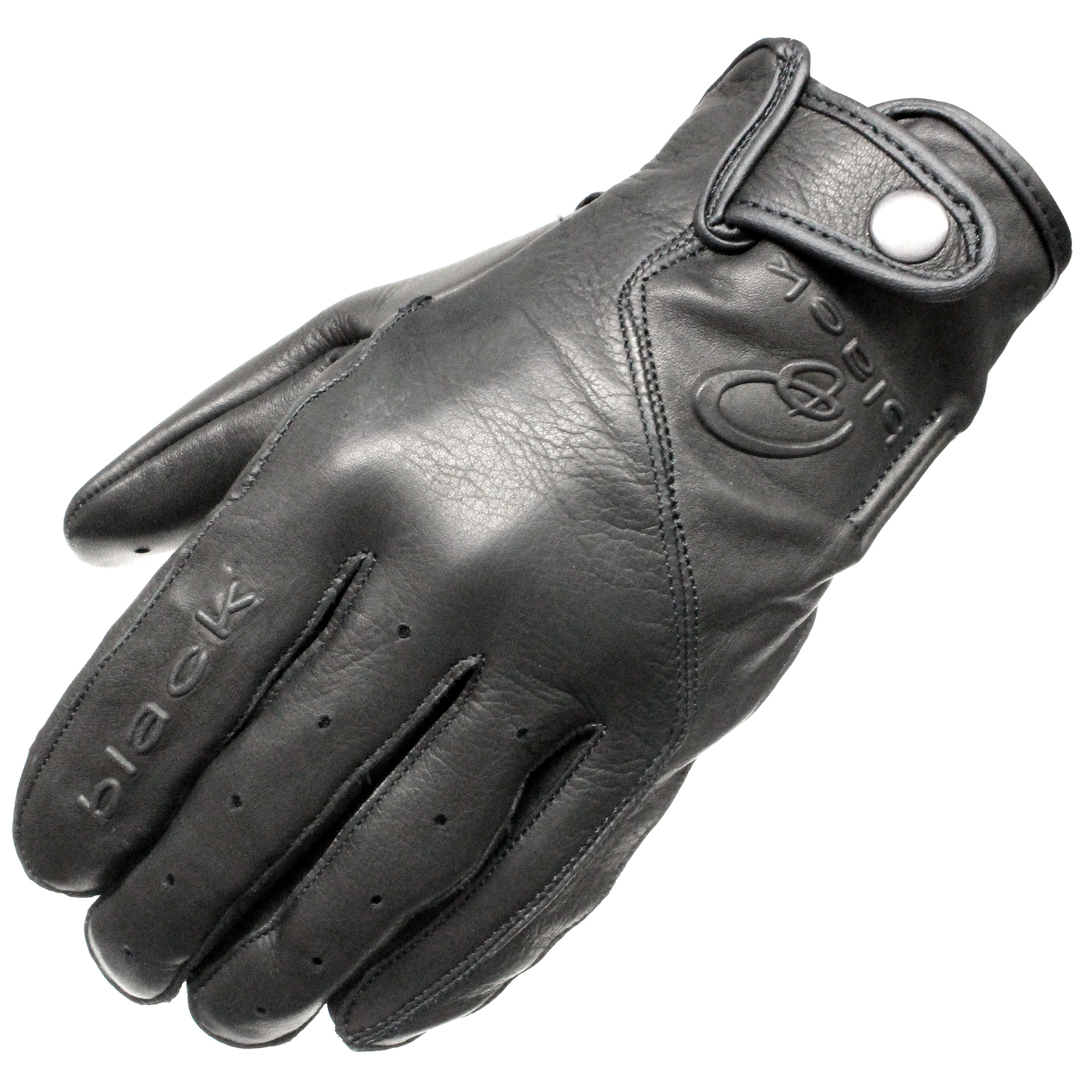 Motorcycle gloves singapore - Black Static Leather Classic Vintage Fashion Motorcycle Motorbike