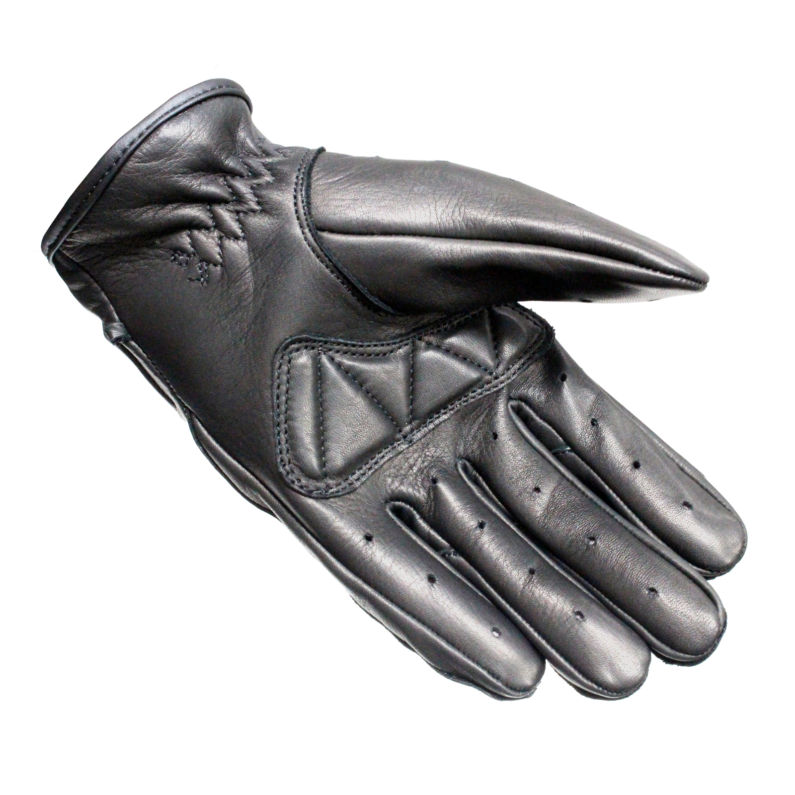 Motorcycle gloves made in pakistan - Black Static Leather Classic Vintage Fashion Motorcycle Motorbike