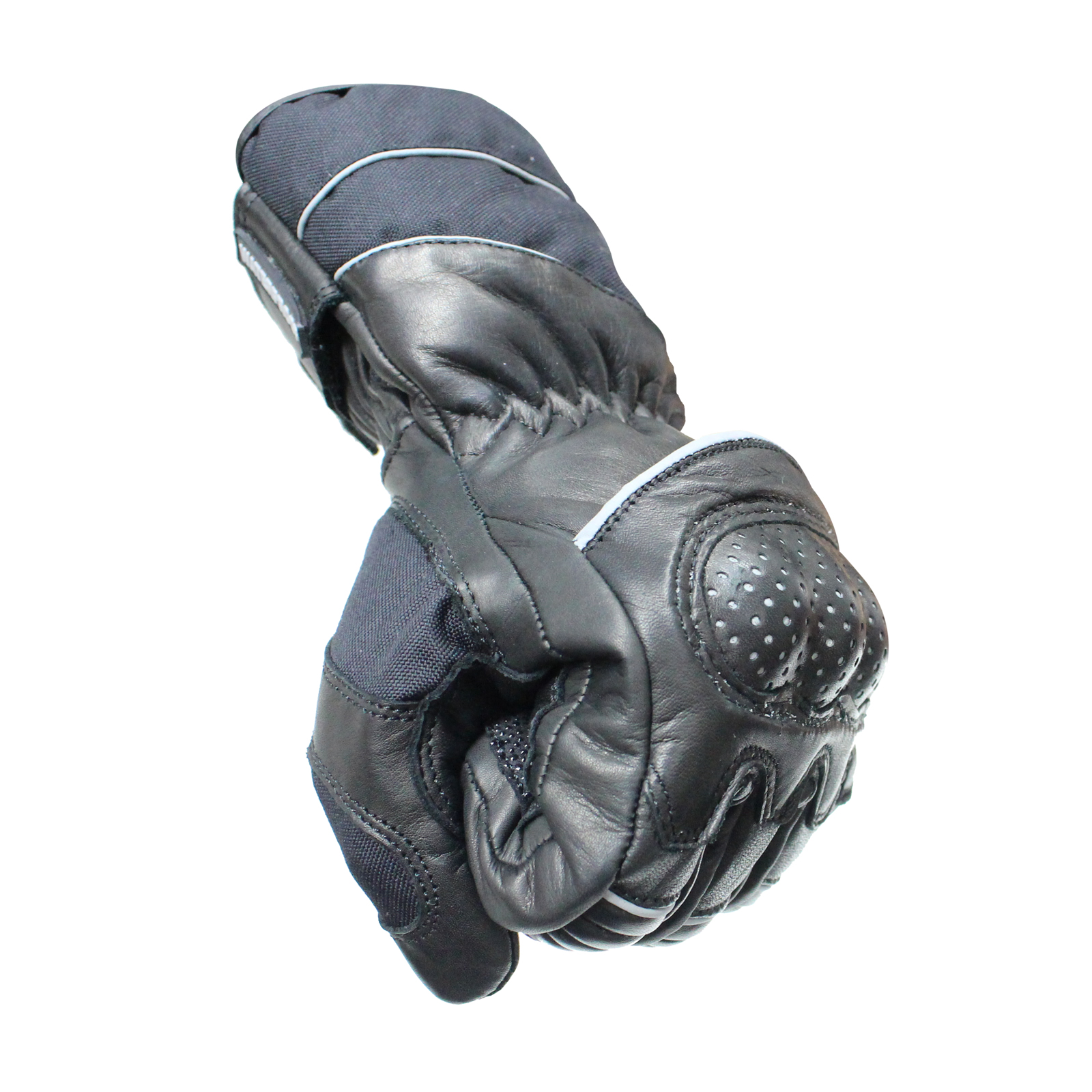 Motorcycle gloves all season - Black Vector Leather Motorcycle Motorbike Waterproof All Season
