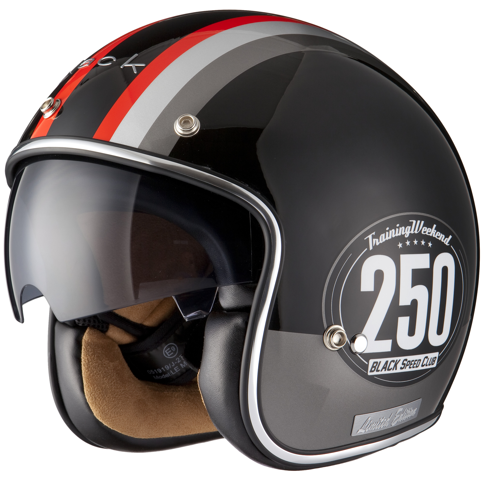 Black Smith Grey Red Limited Edition Openface Helmet ...