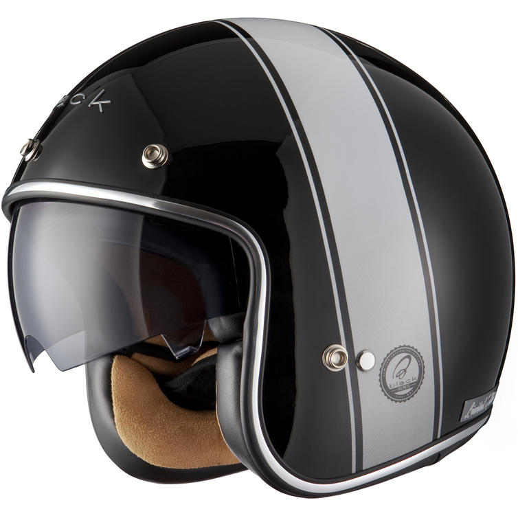 Black Stripe Limited Edition Motorcycle Helmet - Open Face ...