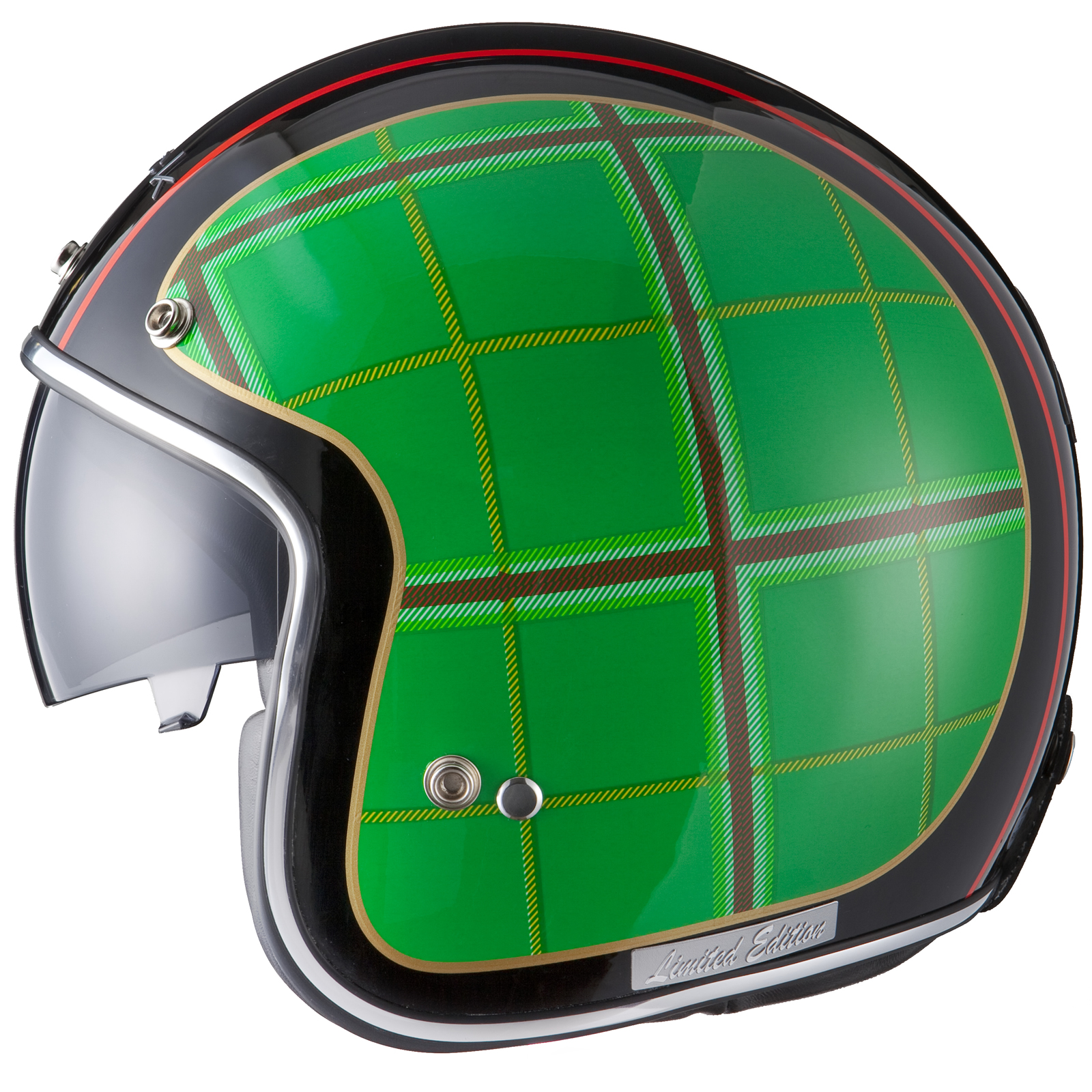 Edition-Limitee-Black-Highland-Tartan-Retro-Casque-Moto-Scooter-Jet-Ecosse
