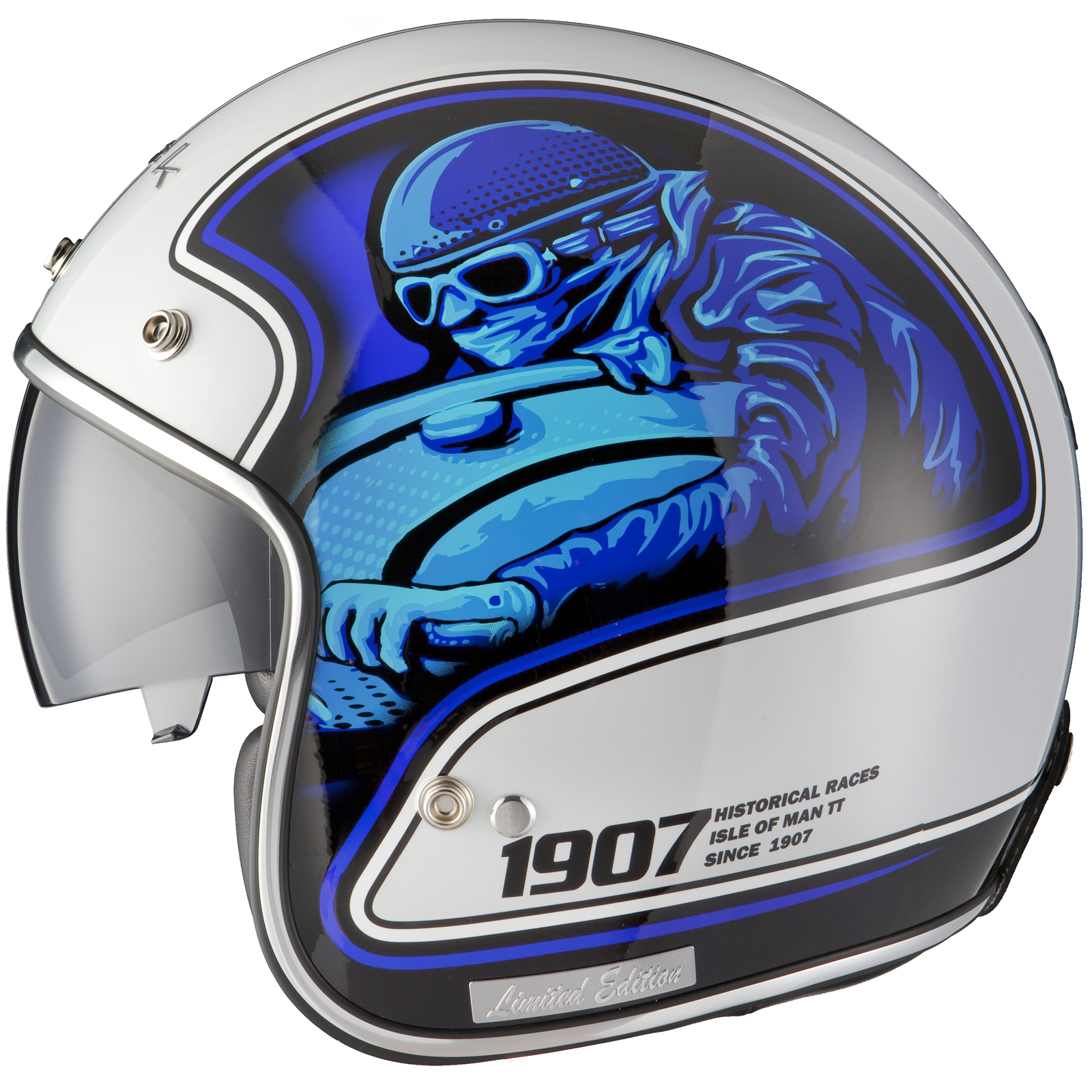 black moto racer blue white limited edition helmet motorcycle racing history ebay. Black Bedroom Furniture Sets. Home Design Ideas