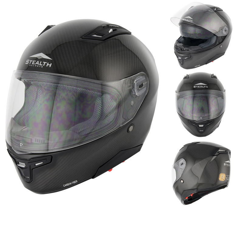 View Item Stealth F117 Carbon Fibre Motorcycle Helmet (HD117)