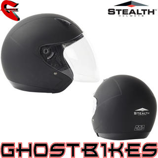 View Item Stealth NT200 Open Face Matt Black Motorcycle Helmet