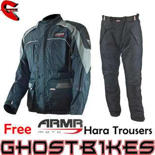 View Item ARMR Moto Kiso Jacket Black Gun and Free Hara Trousers