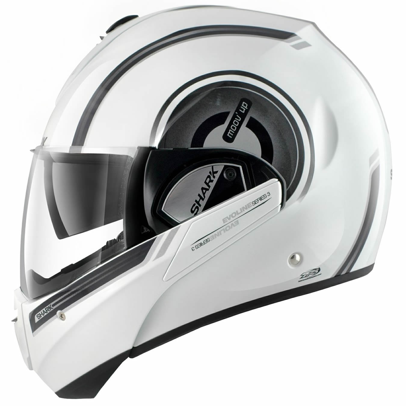 shark evoline series 3 moov up flip up front full open face motorcycle helmet ebay. Black Bedroom Furniture Sets. Home Design Ideas