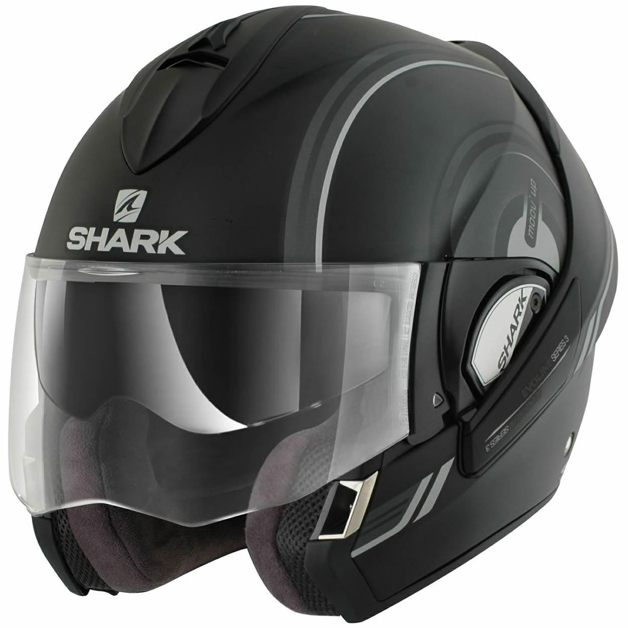 shark evoline series 3 move moov up motorrad helm matt schwarz grau 61 62 cm xl ebay. Black Bedroom Furniture Sets. Home Design Ideas